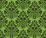 Black khokhloma flowers, greenery seamless pattern