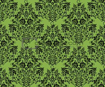 Black khokhloma flowers, greenery seamless pattern