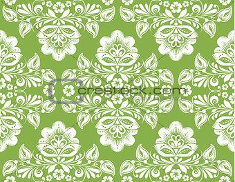 Greenery russian hohloma style seamless background