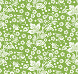 Greenery hohloma style, flower seamless pattern