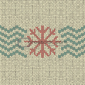 Knitting pattern with snowflake and zigzag texture