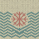 Zigzag knitted pattern with snowflake embroidery
