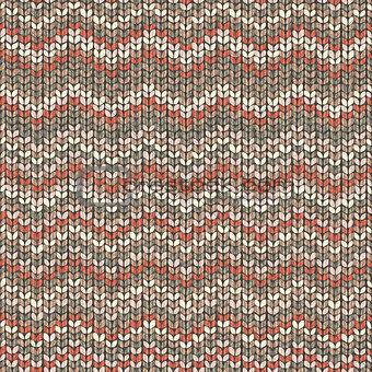 Knitted pattern, zigzag seamless wool wallpaper
