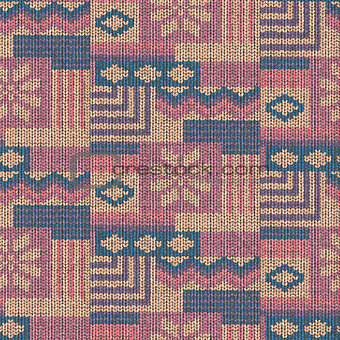 Abstract wool knitted seamless pattern