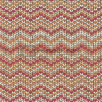 Knitting pattern, zigzag seamless wool background