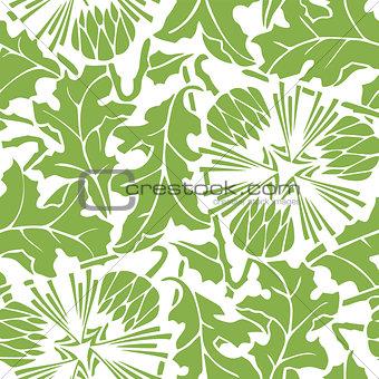 Greenery dandelion seamless pattern background