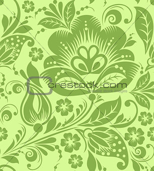 Greenery russian floral seamless pattern texture