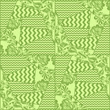 Greenery chevron, russian floral seamless pattern