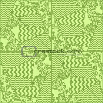 Greenery chevron, russian floral seamless pattern