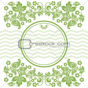 Green leaves, floral frame background vector