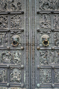 Ancient metal door of Bremen Cathedral, Germany.