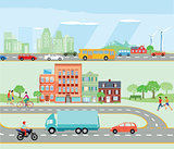 Road traffic with bypass road and motorway illustration