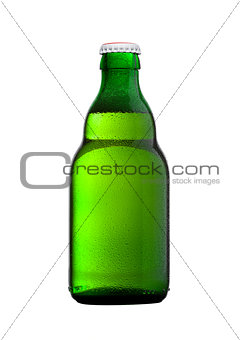 Green glass beer bottle with white cap on white