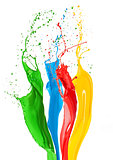 Colorful liquid paint splashes different colors