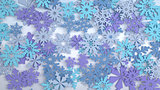 Blue and cyan snowflakes abstract background