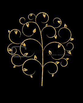 Beautuful  Golden Tree on Black Background Vector Illustration