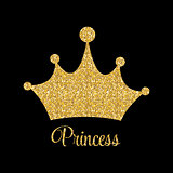 Princess Golden Glossy Background with Crown Vector Illustration