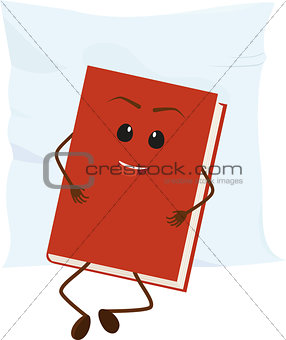 cartoon red book rests on pillow