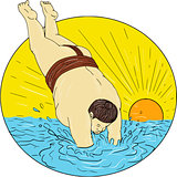 Japanese Sumo Wrestler Diving Sea Sunset Circle Drawing