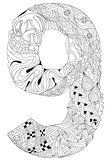 Number nine Zentangle. Vector decorative object