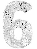 Number six Zentangle. Vector decorative object