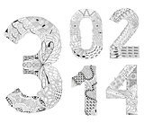 set of number zero, one, two, three, four Zentangle. Vector decorative objects