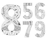 set of number five, six, seven, eight, nine Zentangle. Vector decorative objects