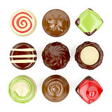 Selection of chocolate candies