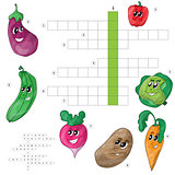 Vector crossword game for children about vegetables