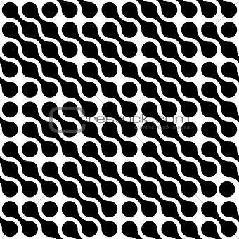Abstract background of black connected dots in diagonal arrangement on white background. Molecule theme wallpaper. Seamless pattern vector illustration