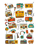 Vintage radio set, sketch for your design