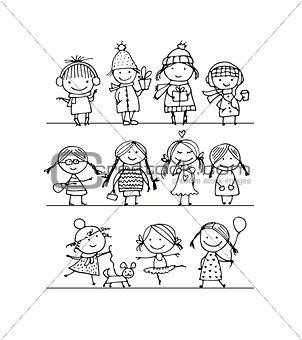Art children set, sketch for your design