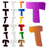Vector illustrated set of letter T, filled with floral elements.