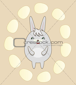 Greeting Card with Round Rabbit for Easter