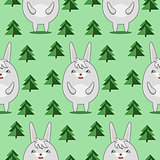 Pattern with Cute Rabbits in Firs Forrest