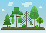 Flat Style Forest on Blue Sky Background