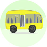 Cute Cartoon Yellow Bus Icon