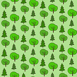 Cute hand drawn forest pattern