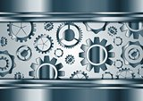 Blue chrome vector gears mechanism background