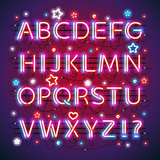 Glowing Neon Red Blue Alphabet