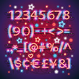 Glowing Neon Red Blue Numbers