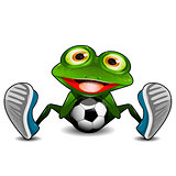 Frog Sitting with a Soccer Ball