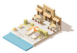 Vector isometric low poly swimming pool and cafe