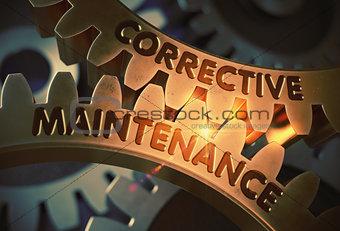 Corrective Maintenance on Golden Cogwheels. 3D Illustration.