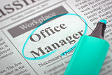We're Hiring Office Manager. 3d.