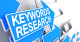 Keywords Research - Inscription on Blue Cursor. 3D.