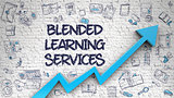 Blended Learning Services Drawn on White Brickwall. 3d.