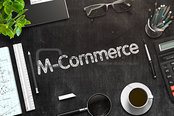 Black Chalkboard with M-Commerce Concept. 3D Rendering.