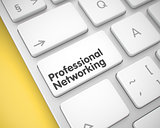 Professional Networking - Text on the White Keyboard Key. 3D.