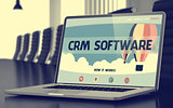 Crm Software - on Laptop Screen. Closeup. 3d.